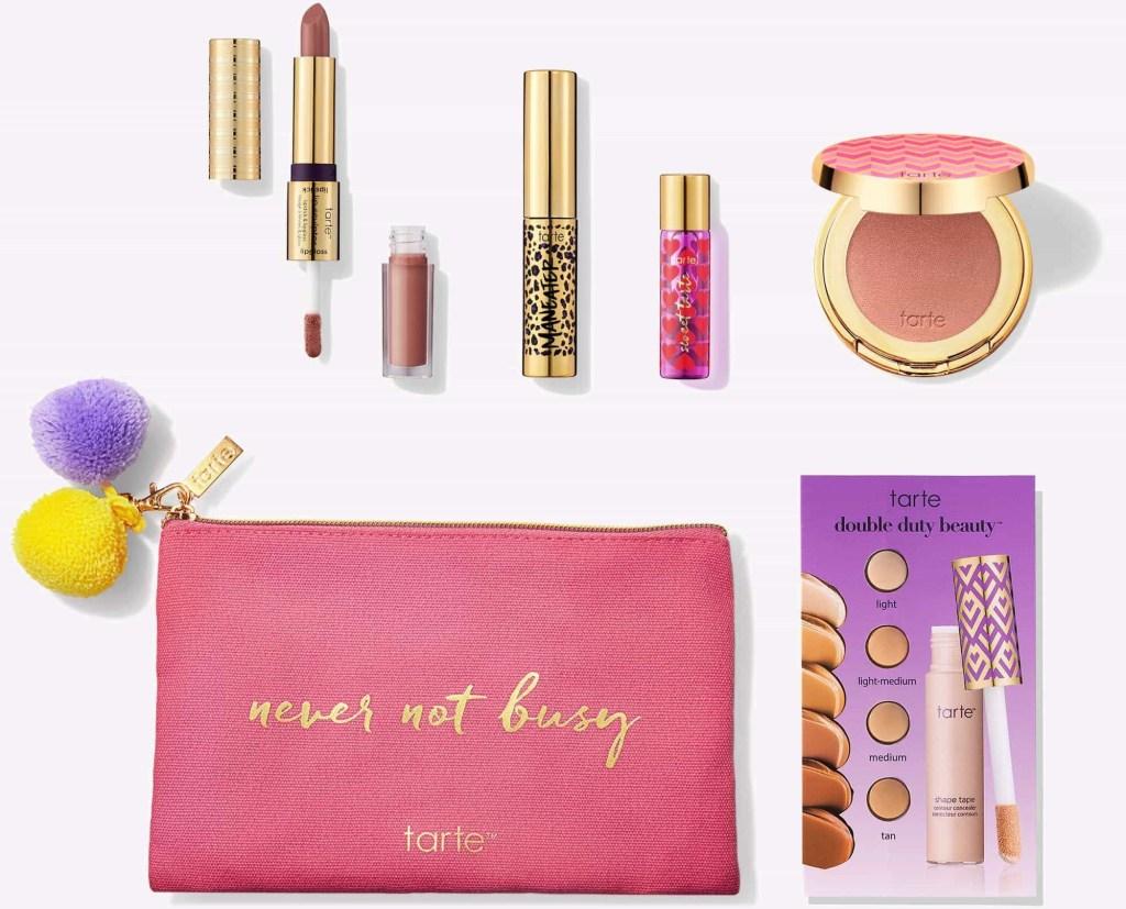 Tarte Busy Girl Bag and cosmetics