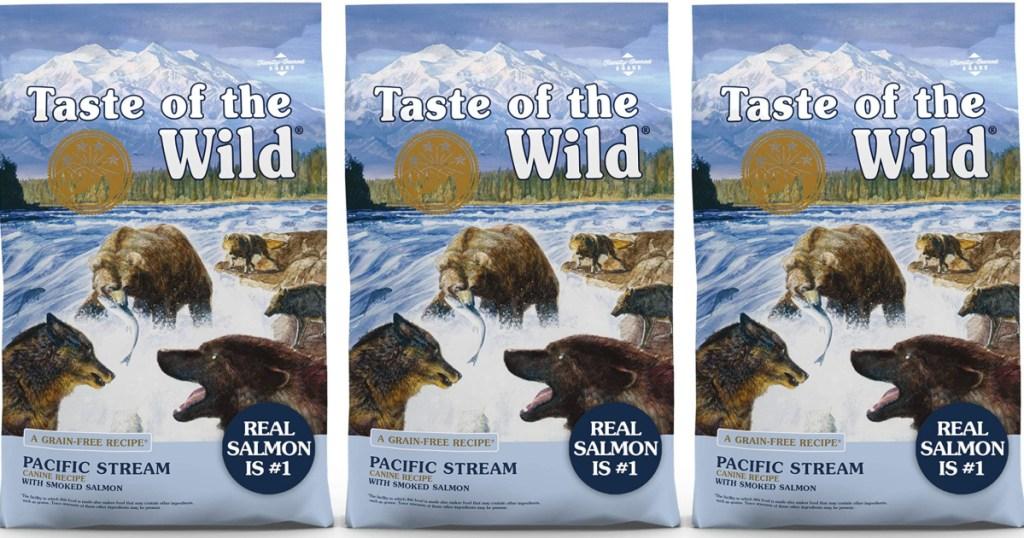 3 bags Taste of The Wild Smoked Salmon Dog Food