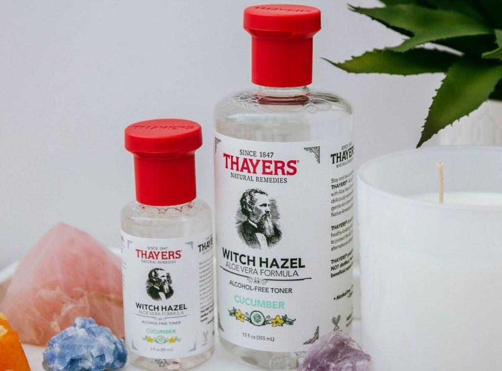 two bottles of Thayers toner