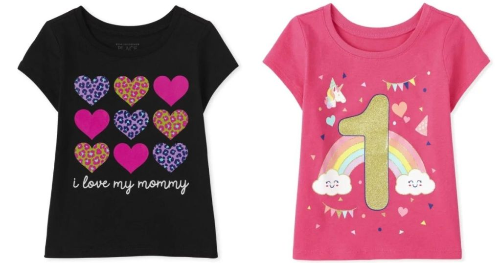 2 The Children's Place Girls Graphic Tees