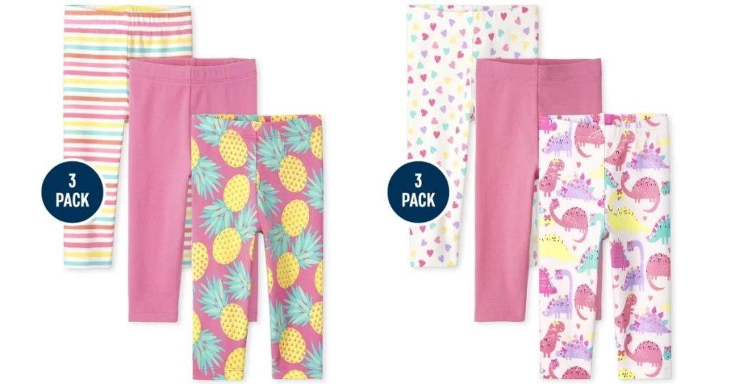 2 sets of The Children's Place Girls Leggings 3-Packs