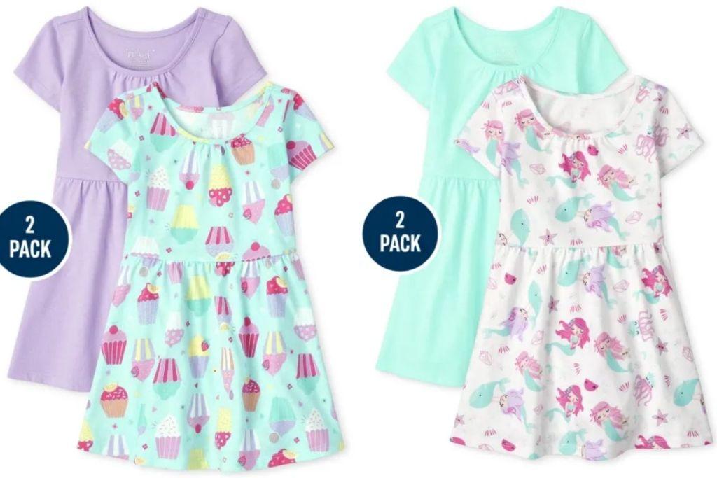 2 sets of The Children's Place Girls Skater Dress 2-Packs