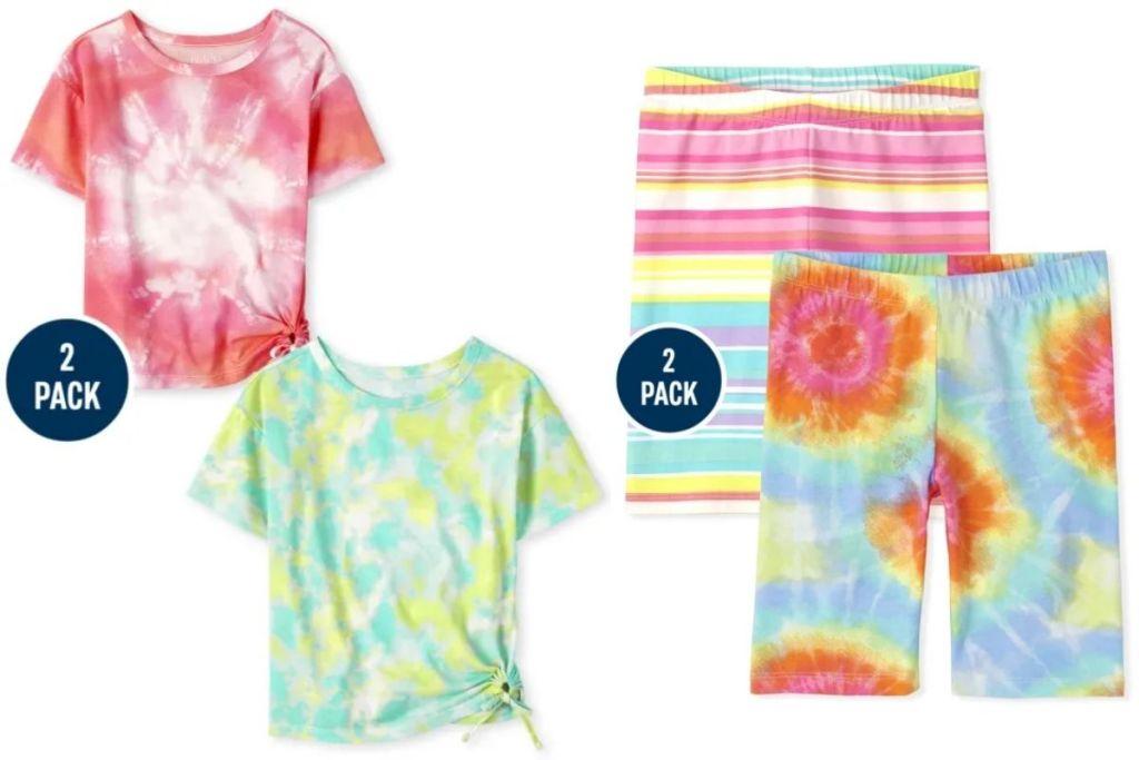 The Children's Place Girls Tie Dye Top and Biker Short 2-Packs