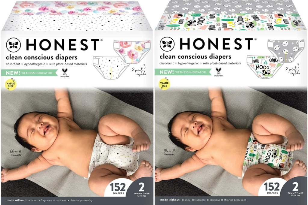 The Honest Company brand diapers in super club boxes