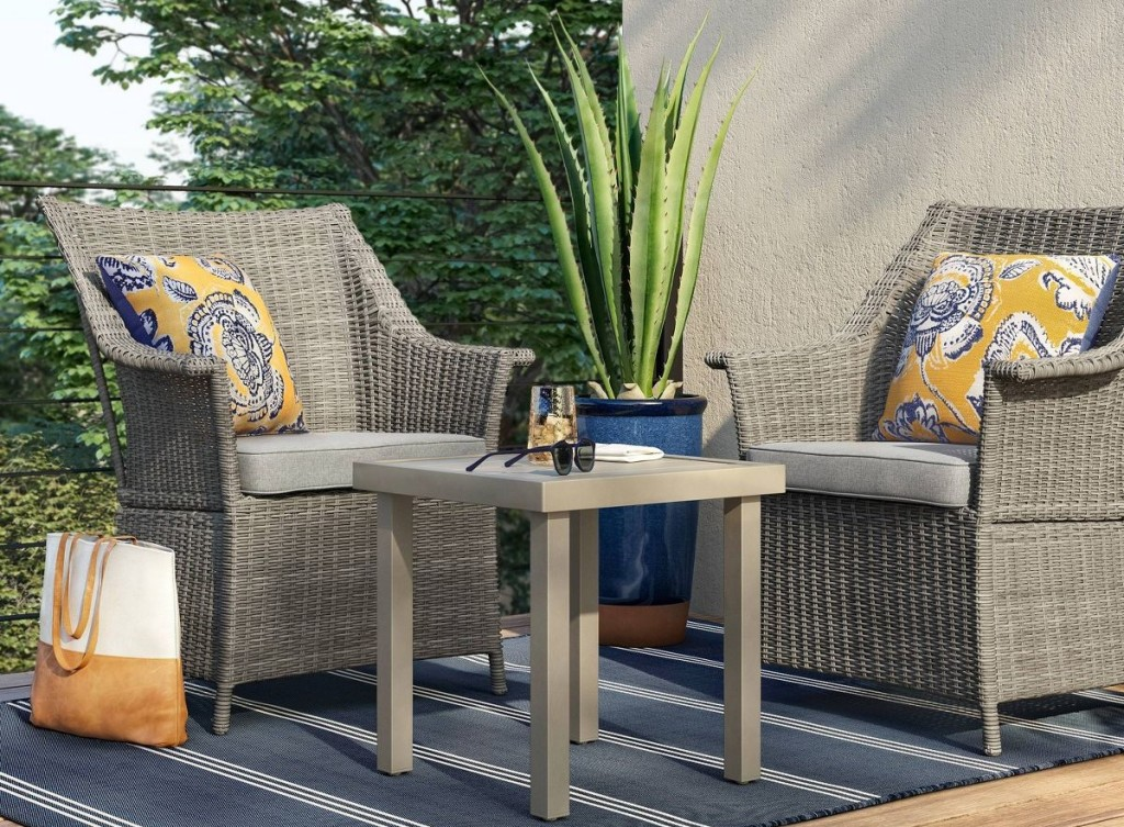 patio set with two chairs and a table