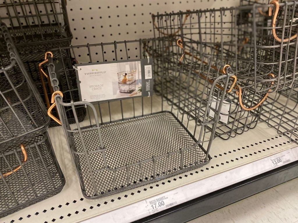 Threshold stackable wire baskets on store shelf