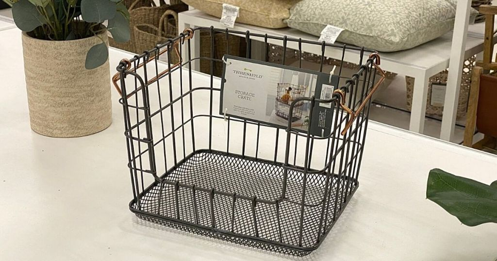 Threshold wire stackable basket on display in store