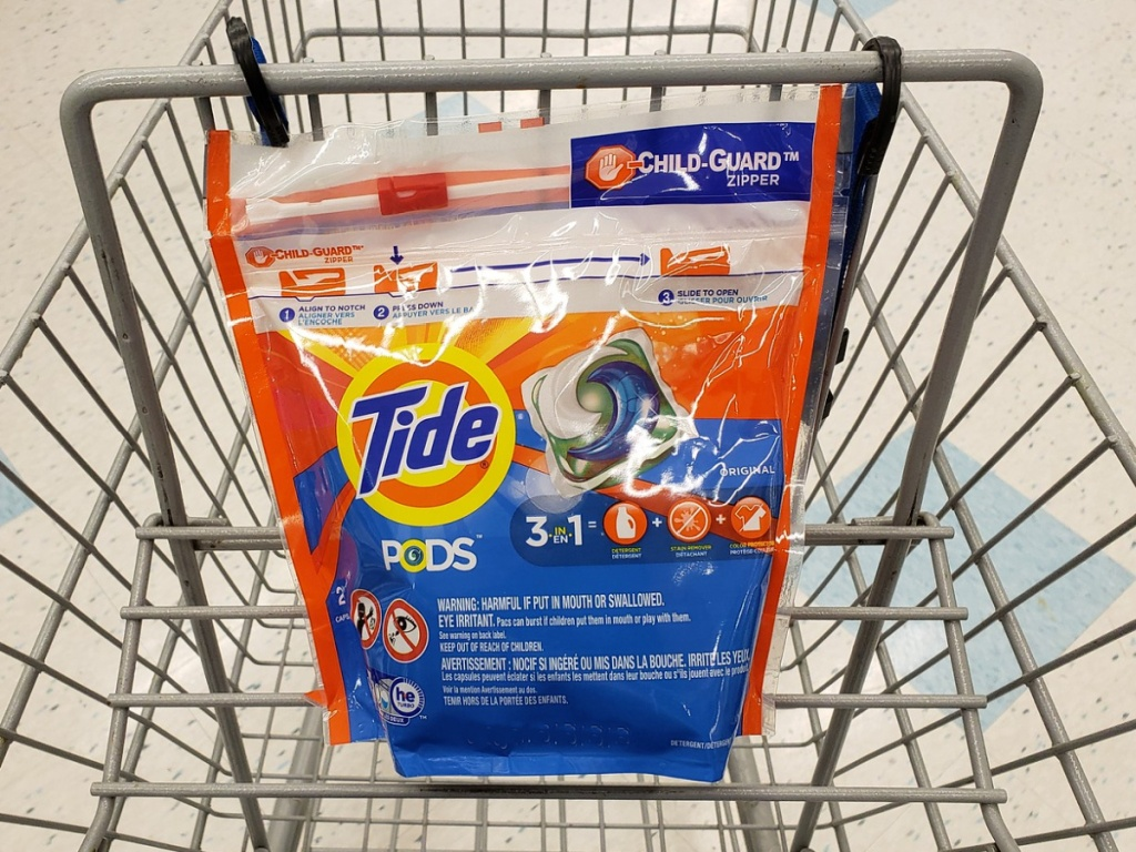 tide pods in a shopping cart