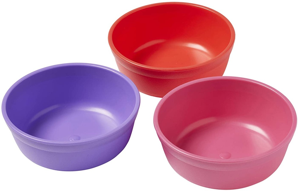 toddler bowls in three colors