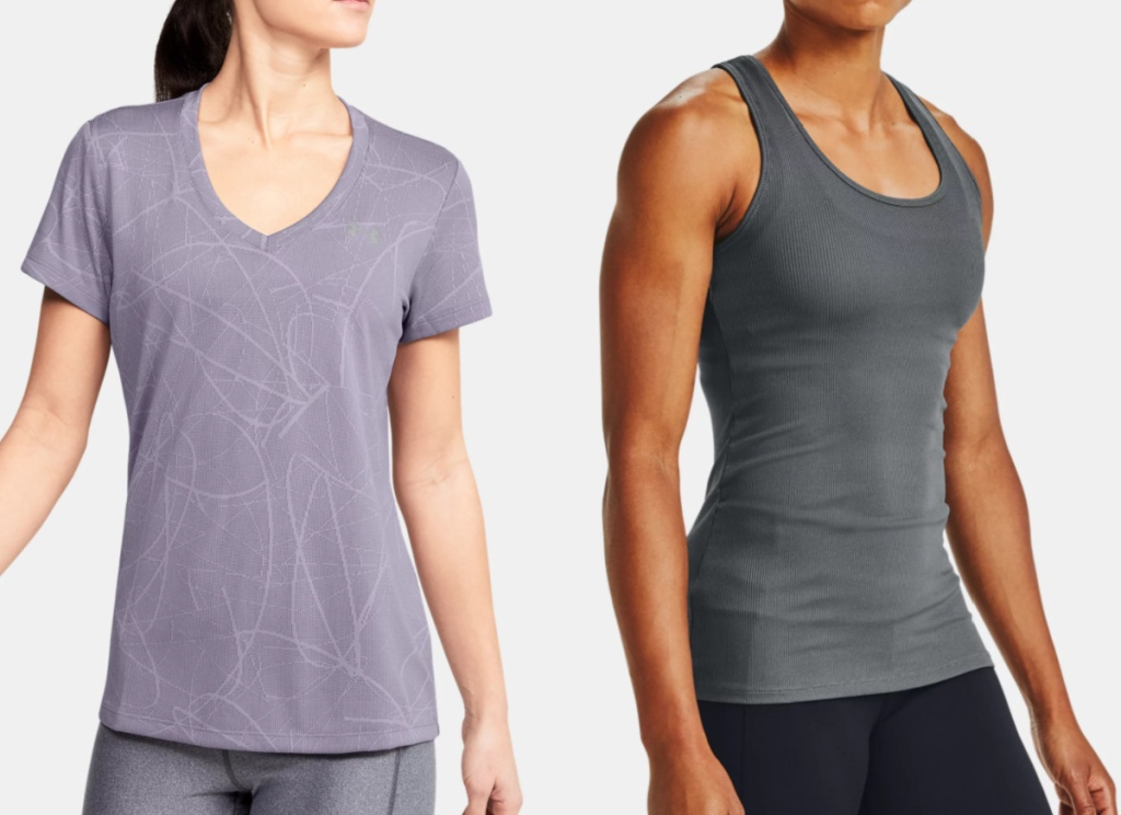 2 women wearing under armour apparel