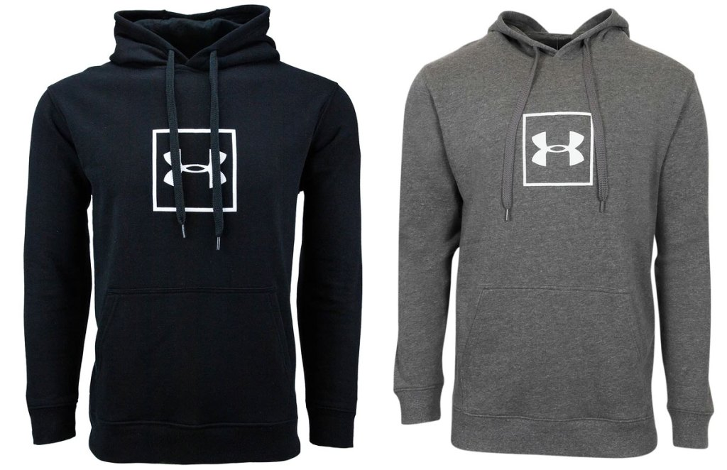 two hoodies with under armour logos