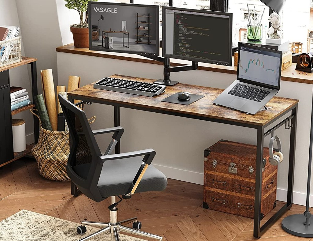 computer desk with a chair by it