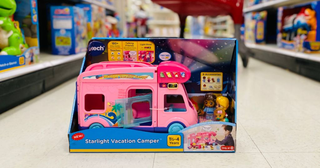 pink toy car in aisle
