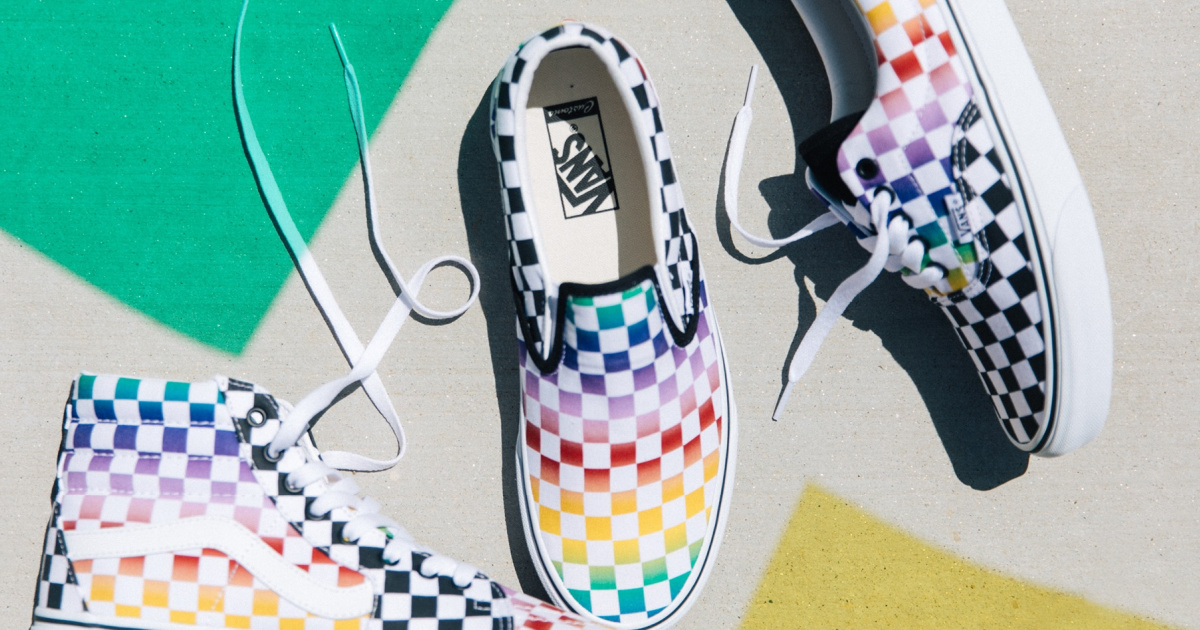 three Vans skater shoes in colorful print
