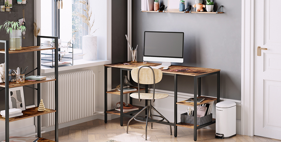 Vasagle Computer Desk in a study with stool