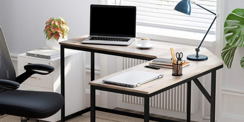 Industrial Style L-Shaped Computer Desk Just $53.99 Shipped on Amazon