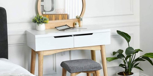 Makeup Vanity & Upholstered Stool Just $69.99 Shipped on Amazon | Perfect for Small Spaces