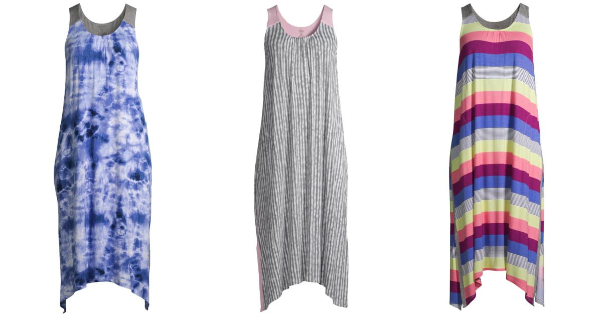 Three styles of women's pajama dresses
