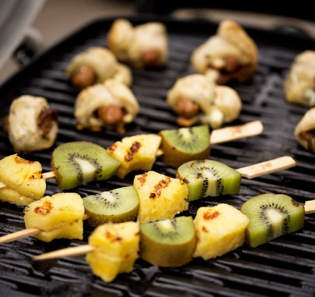fruit skewers on webber grill