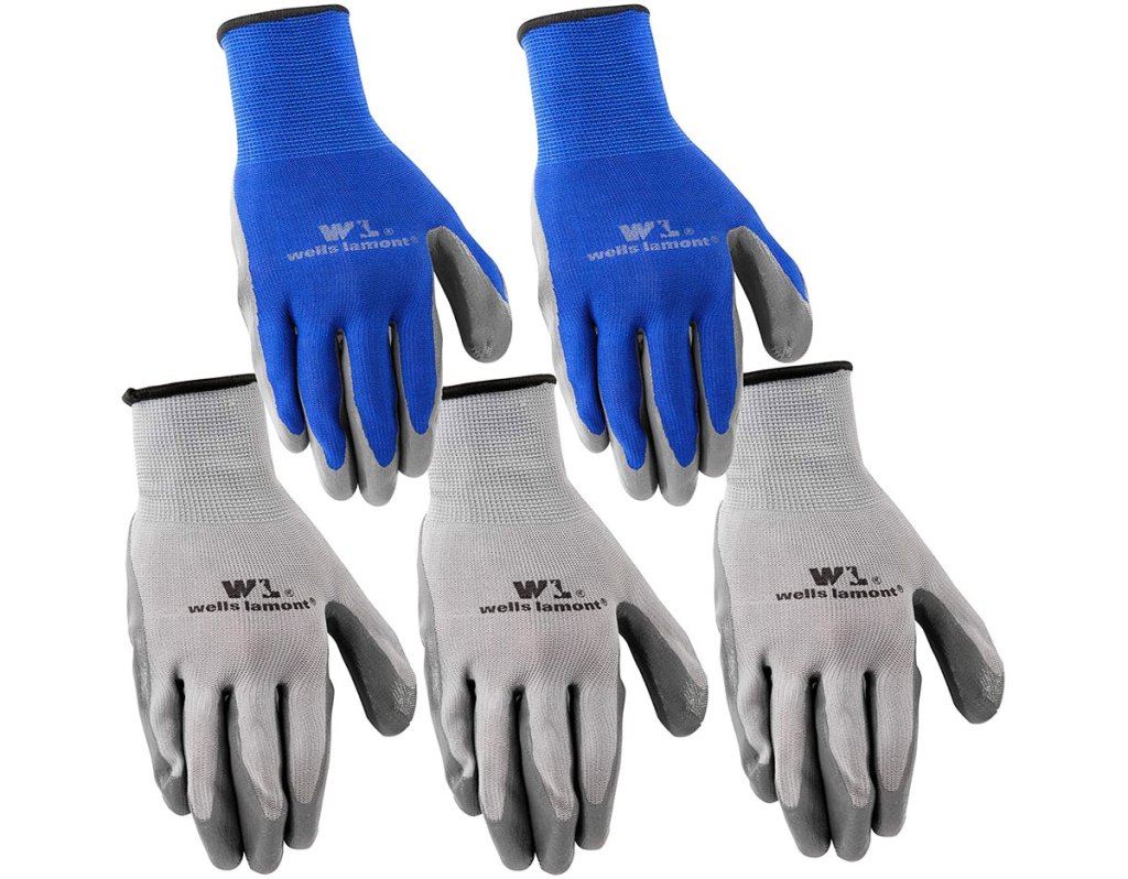 5 pack of grey and blue gloves