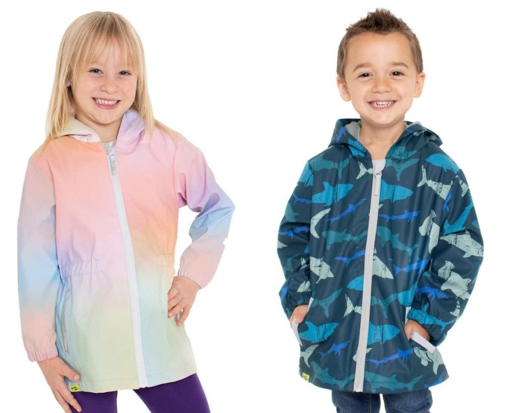 2 kids wearing Western Chief Kids Rain Jackets