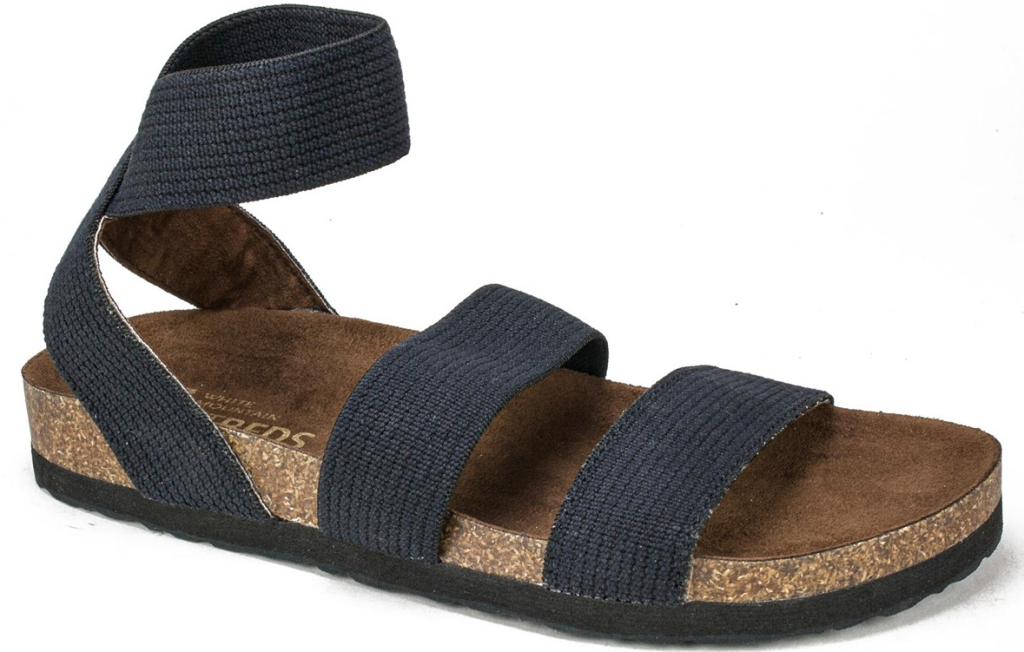 blue and brown sandal