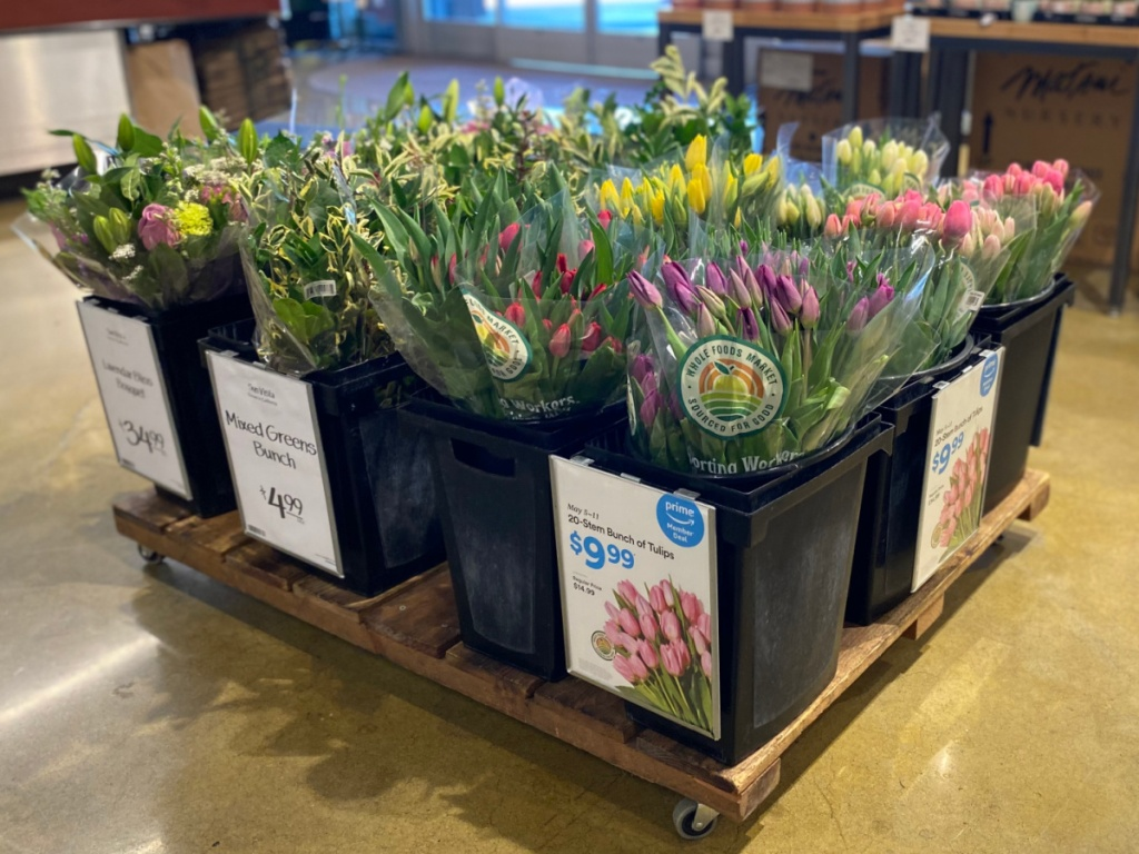 Large in-store display of tulips
