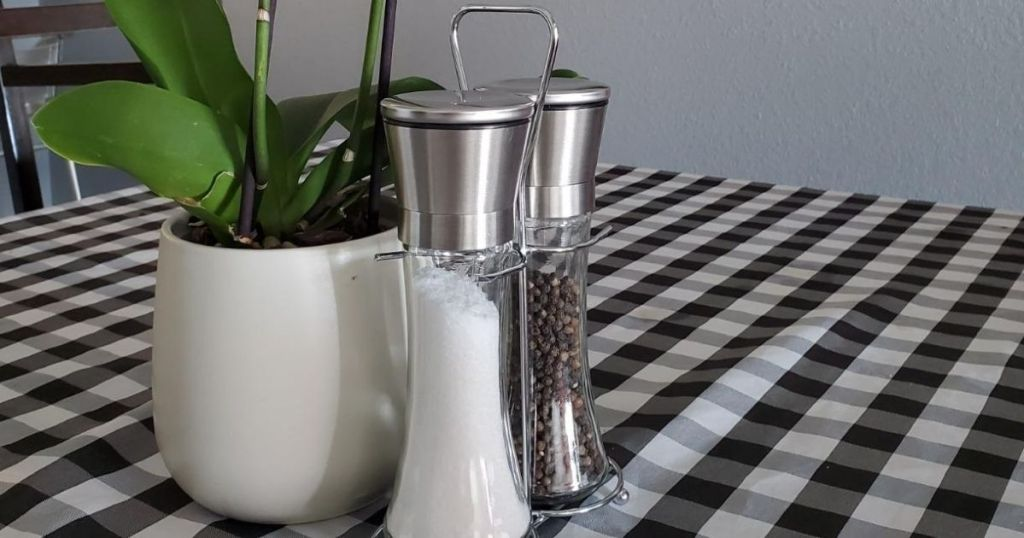 Willow and Everett Salt and Pepper grinders on a table