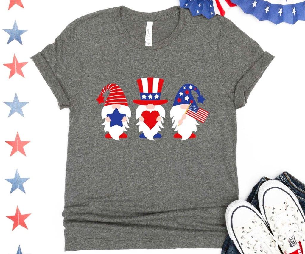 grey tee with three patriotic gnomes on it