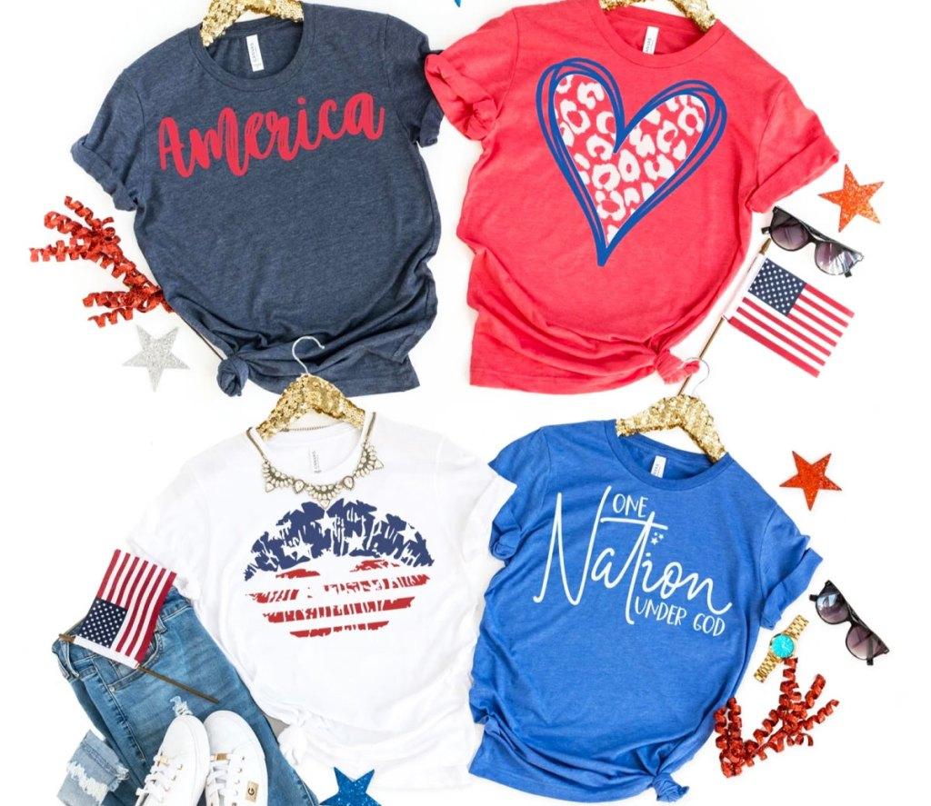 four women's patriotic graphic tees on gold sequin hangers