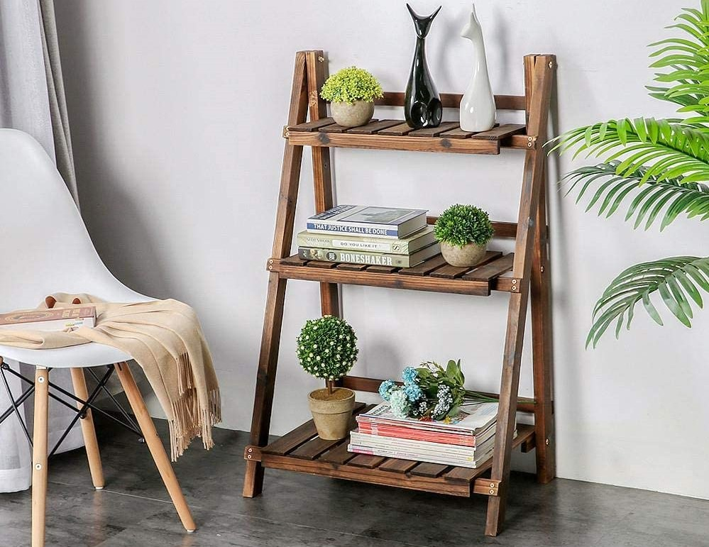 Wooden Plant Stand with plants on it