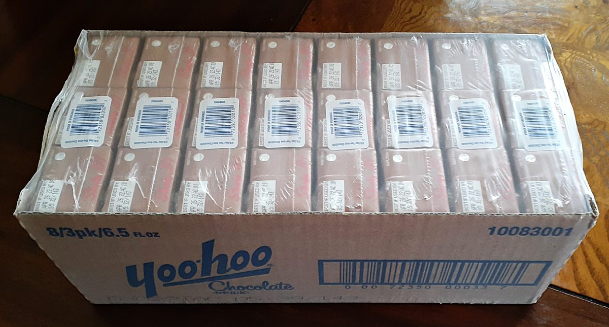 box full of yoo-hoo drinks