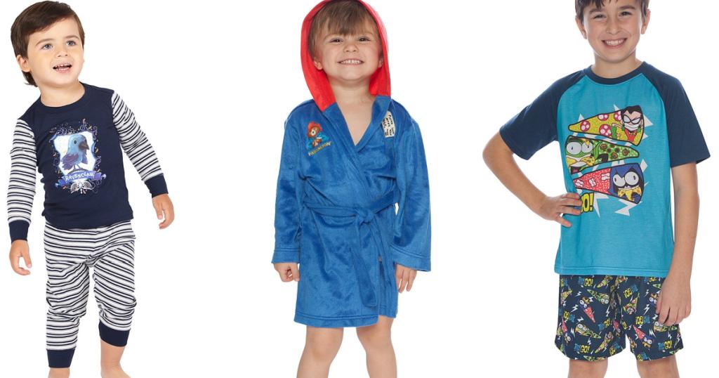 three boys wearing character PJs
