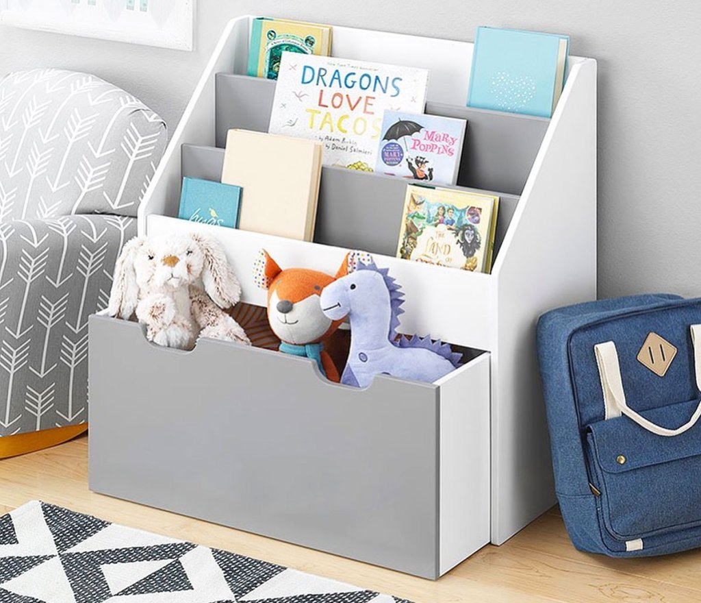grey kids bookshelf with pull out drawer