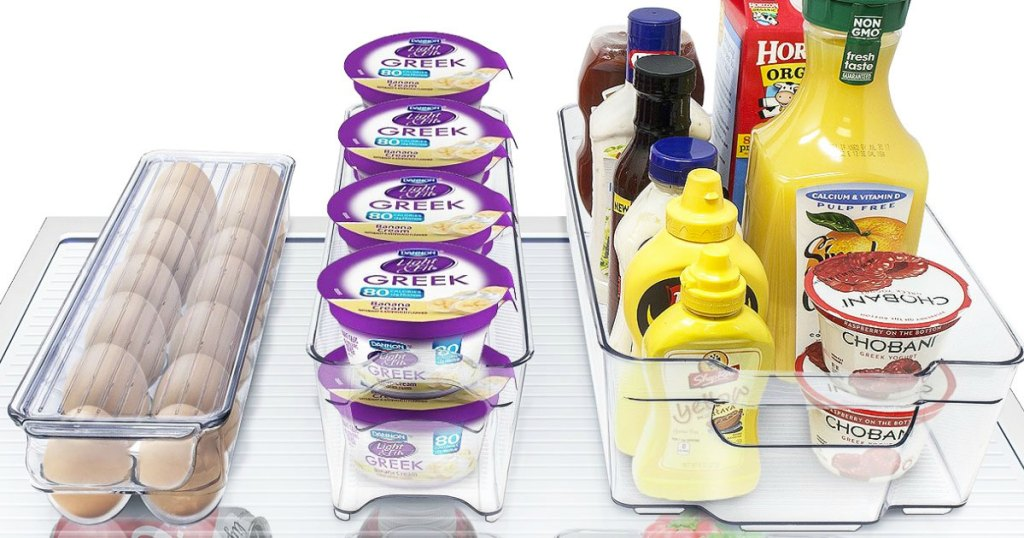 clear organizer bins in fridge