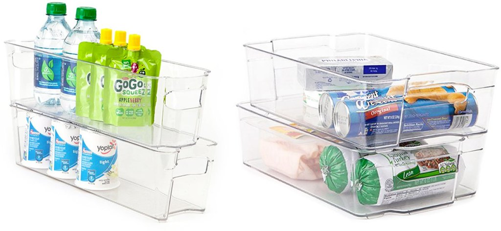 two sets of fridge organizer bins