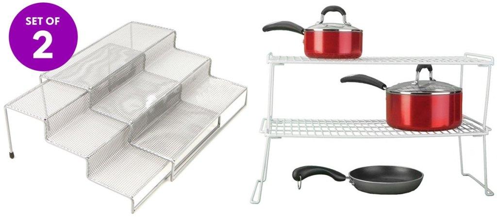 metal shelf spice rack and two tier metal rack