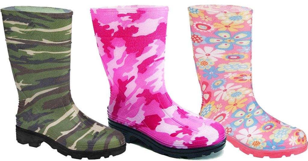 three pairs of kids rainboots