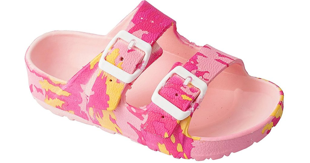 pink camo print girls sandal