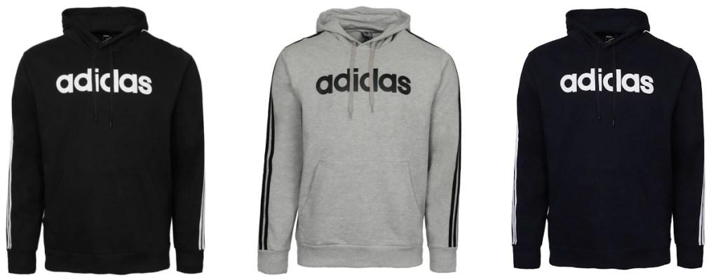 black, grey and navy adidas hoodies