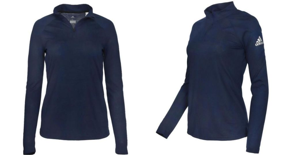 front and side view of navy adidas pullover
