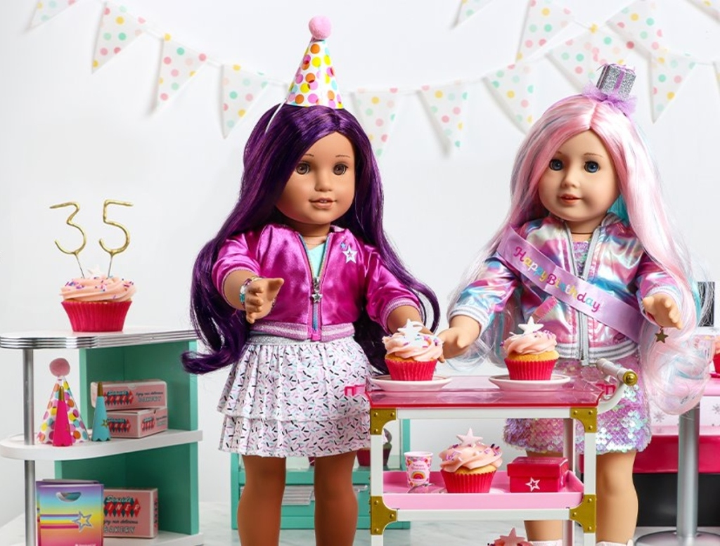 American Girl dolls at a birthday party