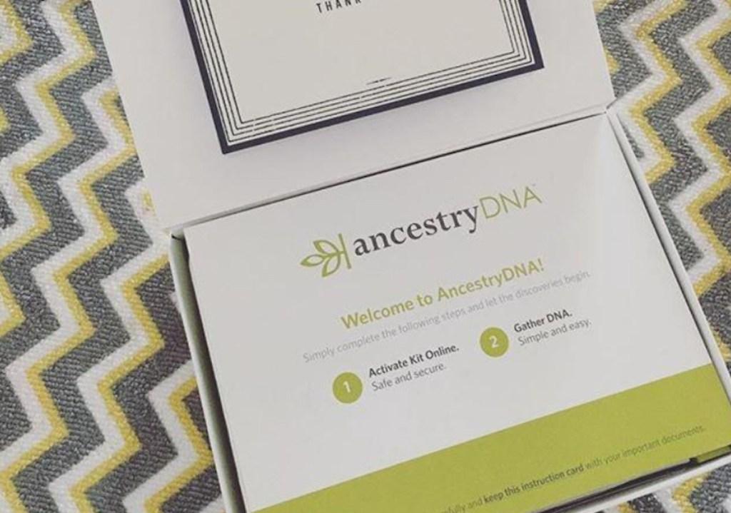ancestry dna kit box on chevron blanket