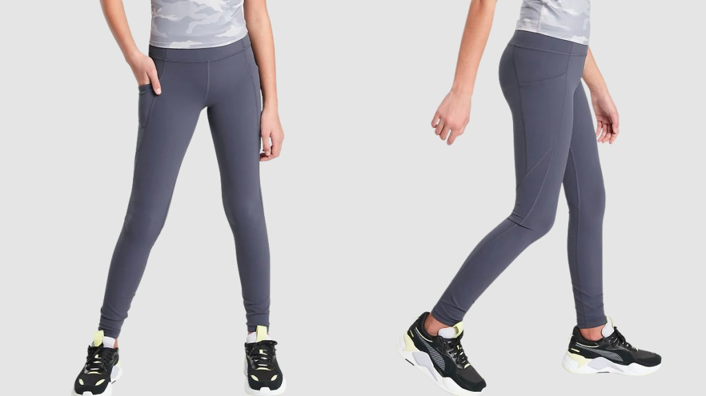 front and side view of girl wearing navy blue tights