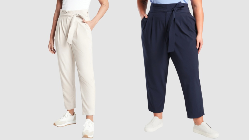 women wearing white and navy skyline pants