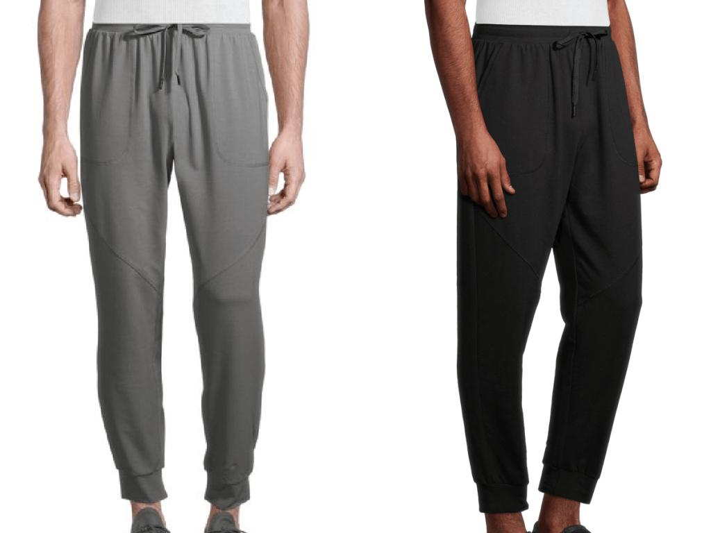 two men's legs wearing sweat pants