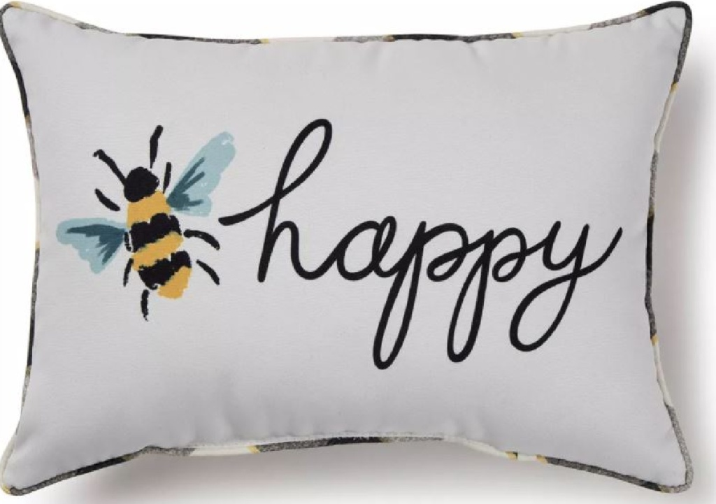"""pillow with bumblee on it and word """"happy"""""""