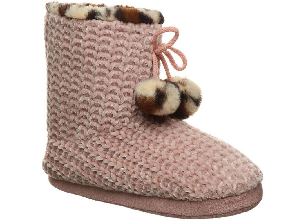 pink slippers with leopard prints