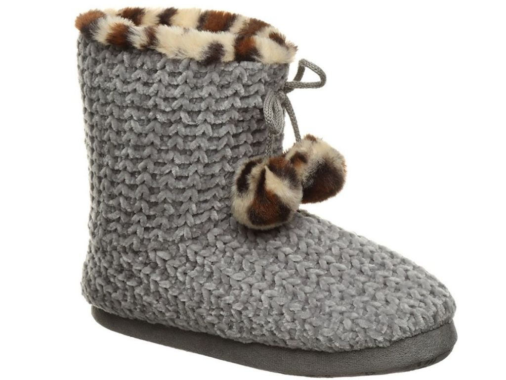 gray slippers with leopard prints