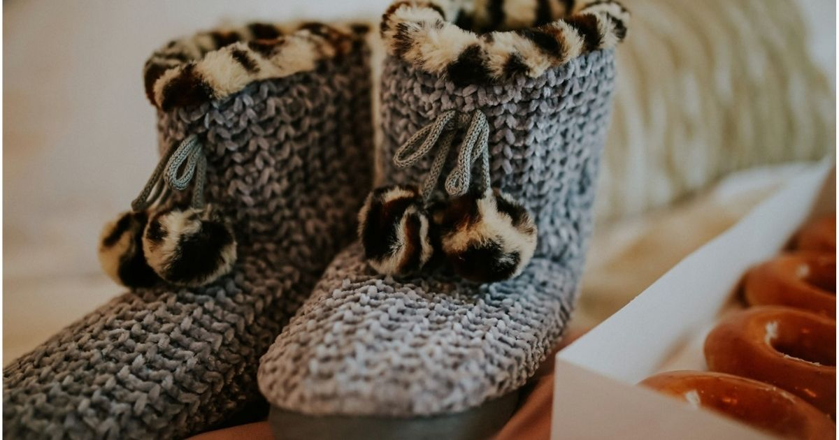gray and leopard slippers